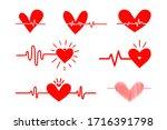 set of heartbeat graph pulse... | Shutterstock .eps vector #1716391798