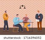 men working on project in team. ...   Shutterstock .eps vector #1716396052