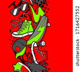 seamless pattern with cartoon... | Shutterstock .eps vector #1716427552