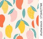 doodle mango. vector seamless... | Shutterstock .eps vector #1716427768