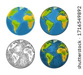 earth planet. vector color flat ...   Shutterstock .eps vector #1716549892