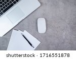 blank sheets and laptop  top... | Shutterstock . vector #1716551878