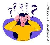 afraid nervous trembling woman... | Shutterstock .eps vector #1716554608
