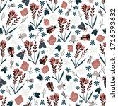 seamless natural pattern  bugs  ... | Shutterstock .eps vector #1716593632