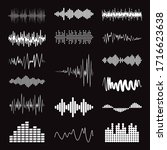 big collection white music wave ... | Shutterstock .eps vector #1716623638