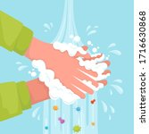 wash your hands with soap suds... | Shutterstock .eps vector #1716630868