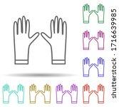 rubber gloves multi color icon. ...
