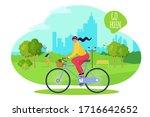 girl at city park ride bike ...   Shutterstock .eps vector #1716642652