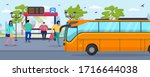 bus stop  waiting people... | Shutterstock .eps vector #1716644038