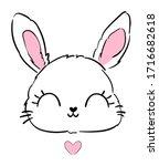 Hand Drawn Cute Bunny  Print...