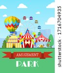 amusement park and circus tent  ... | Shutterstock .eps vector #1716704935
