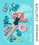 girl is swimming in the ocean...   Shutterstock .eps vector #1716772378