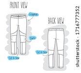 leggings sketch. black and... | Shutterstock .eps vector #1716777352