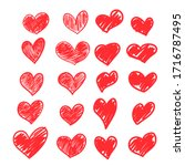 set of vector drawings of red... | Shutterstock .eps vector #1716787495