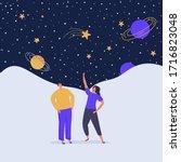 cartoon energy group of people... | Shutterstock .eps vector #1716823048