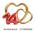 red inscription 14 and two golden hearts shape. 3d an illustration isolat on a white background - stock photo