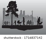 people black silhouettes  urban ... | Shutterstock .eps vector #1716837142
