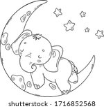 Cute Baby Elephant. Coloring...