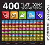 400 flat icons on square...   Shutterstock .eps vector #171686978
