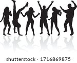 dancing people silhouettes.... | Shutterstock .eps vector #1716869875
