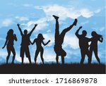 dancing people silhouettes.... | Shutterstock .eps vector #1716869878