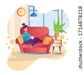 illustration of girl drinks...   Shutterstock .eps vector #1716878218