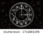 round frame with zodiac signs.... | Shutterstock .eps vector #1716881698