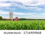 Classic Red Barn And Silo Set...