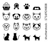 Cat And Dog Icon Black And...