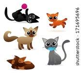 Stock vector set of cute cat characters 171695696