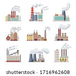 set of factories and power... | Shutterstock .eps vector #1716962608