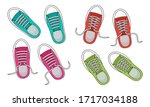 colorful fashion sneakers...   Shutterstock .eps vector #1717034188