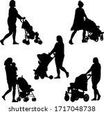 silhouette of mom  baby and pram | Shutterstock .eps vector #1717048738