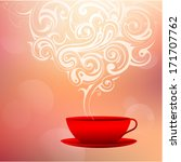 red coffee cup with decorative... | Shutterstock .eps vector #171707762