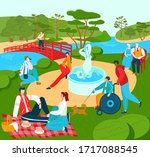 recreation for people in park ... | Shutterstock .eps vector #1717088545