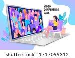 vector employee talk on video... | Shutterstock .eps vector #1717099312