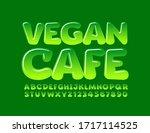 vector green logo vegan cafe... | Shutterstock .eps vector #1717114525