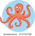 cute octopus playing with... | Shutterstock .eps vector #171714728