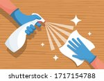 cleaning wooden surface home or ... | Shutterstock .eps vector #1717154788