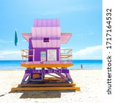 Small photo of Stock photo of a lifeguard station in Miami Beach