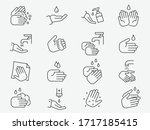 hand washing line icons set....   Shutterstock .eps vector #1717185415