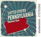 Abstract label with name and map of Pennsylvania, vector illustration