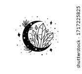 mystical moon with crystal and... | Shutterstock .eps vector #1717225825