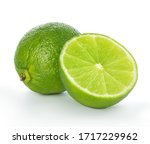 Lime Closeup Isolated On White...
