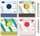 set of memphis background... | Shutterstock .eps vector #1717274758