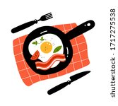 fried egg and bacon on pan.... | Shutterstock .eps vector #1717275538