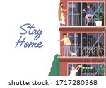 stay home  isolation concept....   Shutterstock .eps vector #1717280368