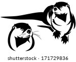 Cute otter black and white illustration - animal and head vector design - stock vector