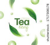 realistic green tea leaves... | Shutterstock .eps vector #1717308178