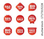 collection of red promo labels... | Shutterstock .eps vector #1717315228